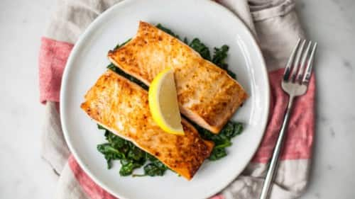 Chipotle-Honey Salmon with Creamed Spinach