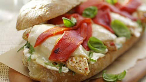 Grilled Chicken & Roasted Peppers on Ciabatta