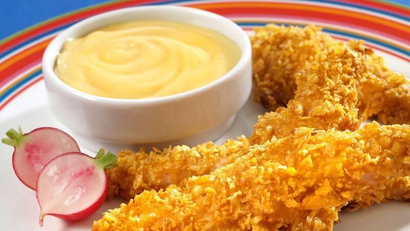 Tiritas De Pollo Con Miel Y Mostaza