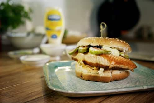 The Salmon Samurai burger