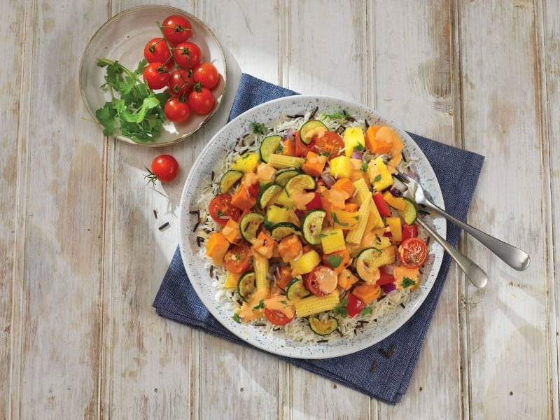 Wild Rice and Roasted Veggies Salad with Pineapple
