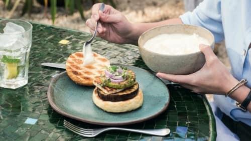Aubergine & Halloumi Burger