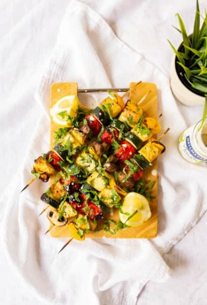 Greek Vegetable Kebabs with Tofu Halloumi