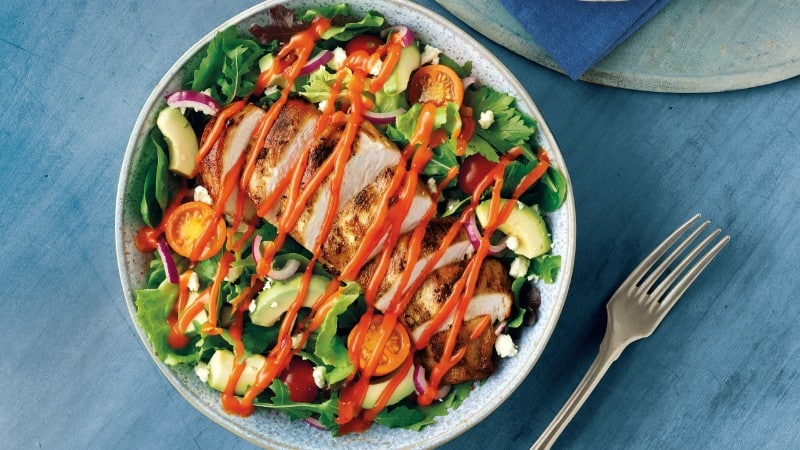 Grilled Chicken Salad with Roasted Red Pepper Sauce