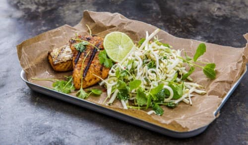 Grilled salmon with pear slaw and BBQ dressing