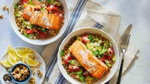Caesar Grilled Salmon Grain Bowl