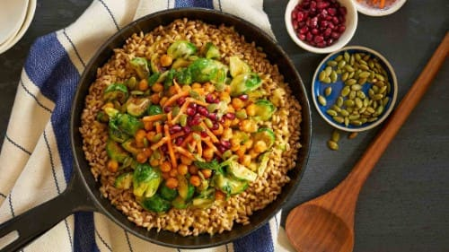 Farro Bowl with Pan-Seared Brussels Sprouts & Smokey Chickpeas