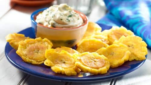 Fried Plantains with Garlic Dipping Sauce