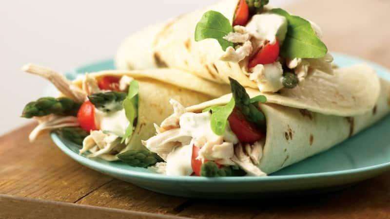 Burritos de pollo y espárragos