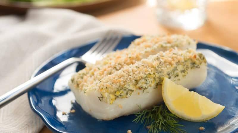 Bacalao con pan rallado al limón y eneldo